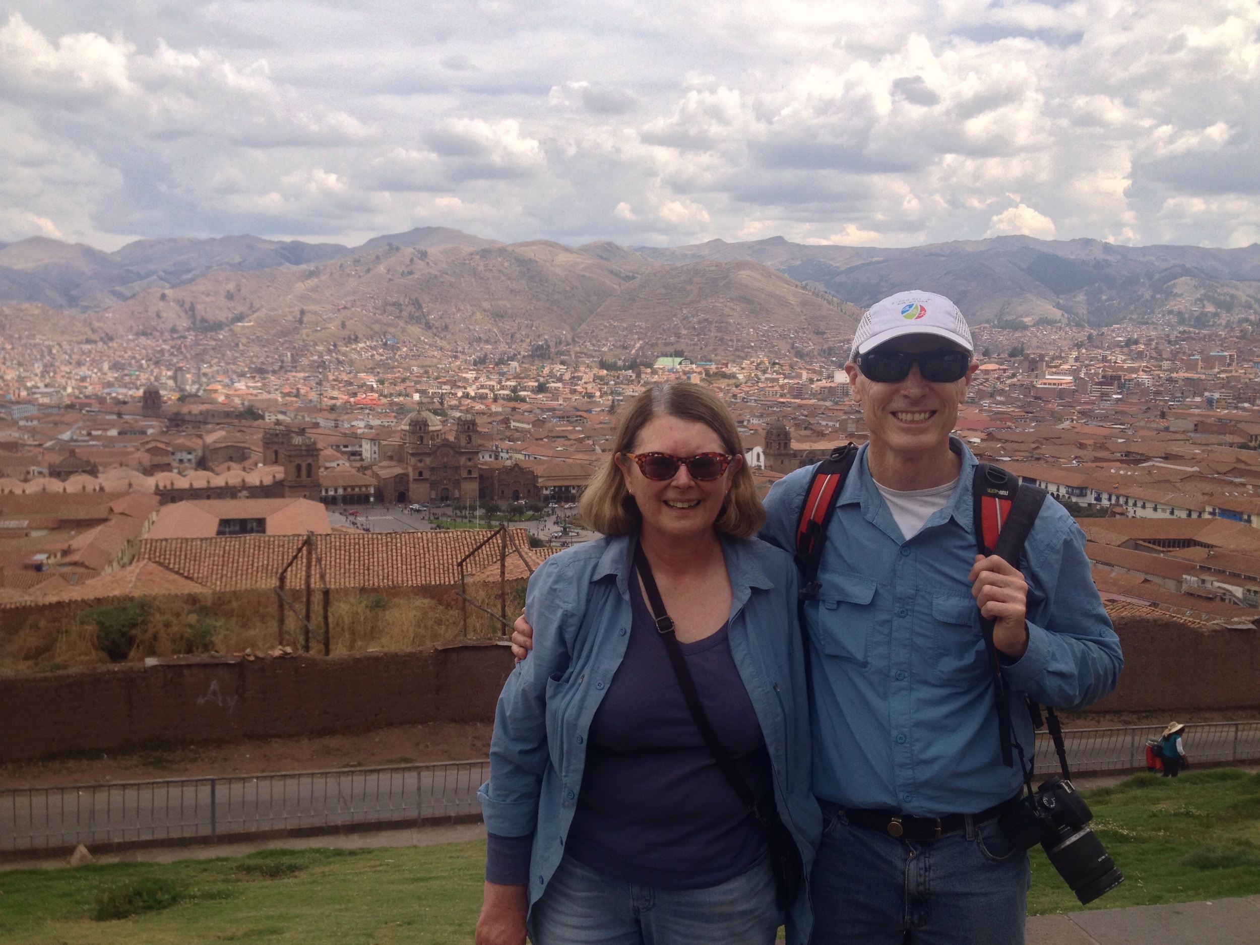 Karen and Paul - city views after a steep hike