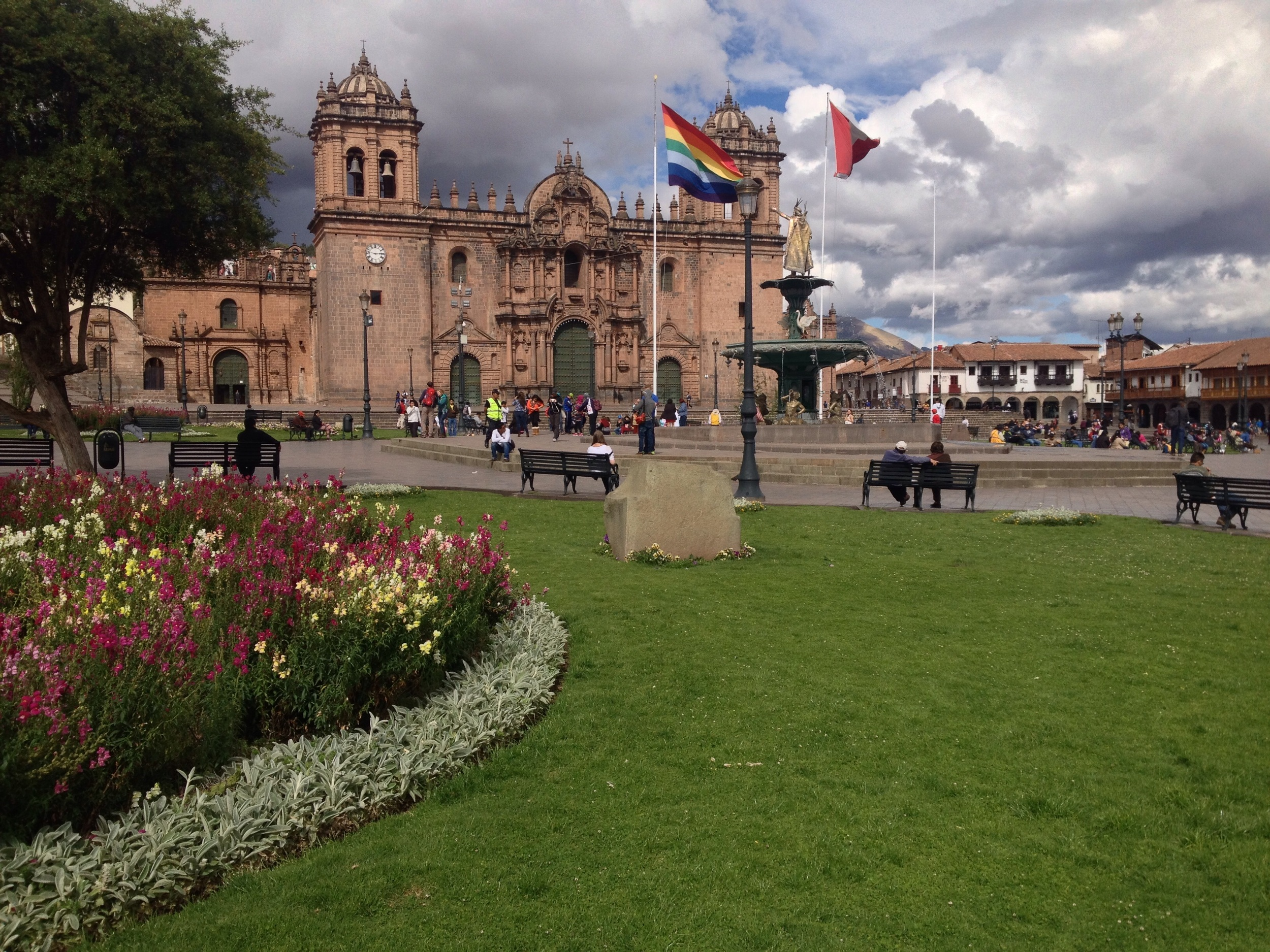 Plaza de Armas is full of tourists, hawkers and police.