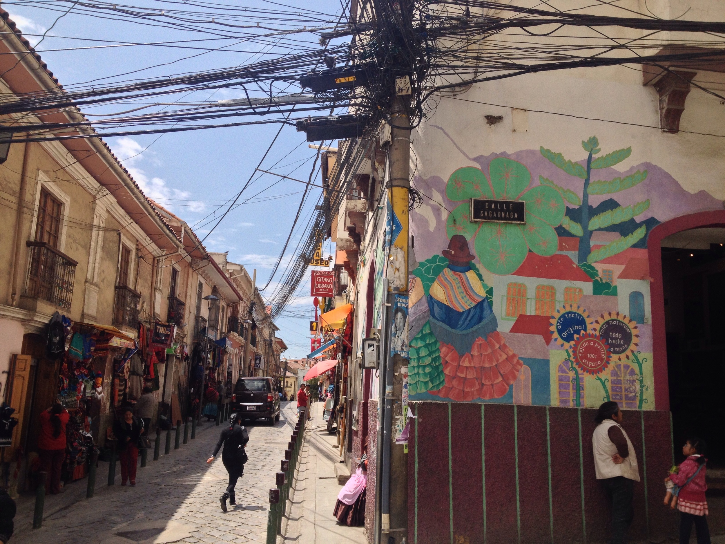 Near the Witches Markets. I wondered if La Pz's electricity distribution originated from this one pole.