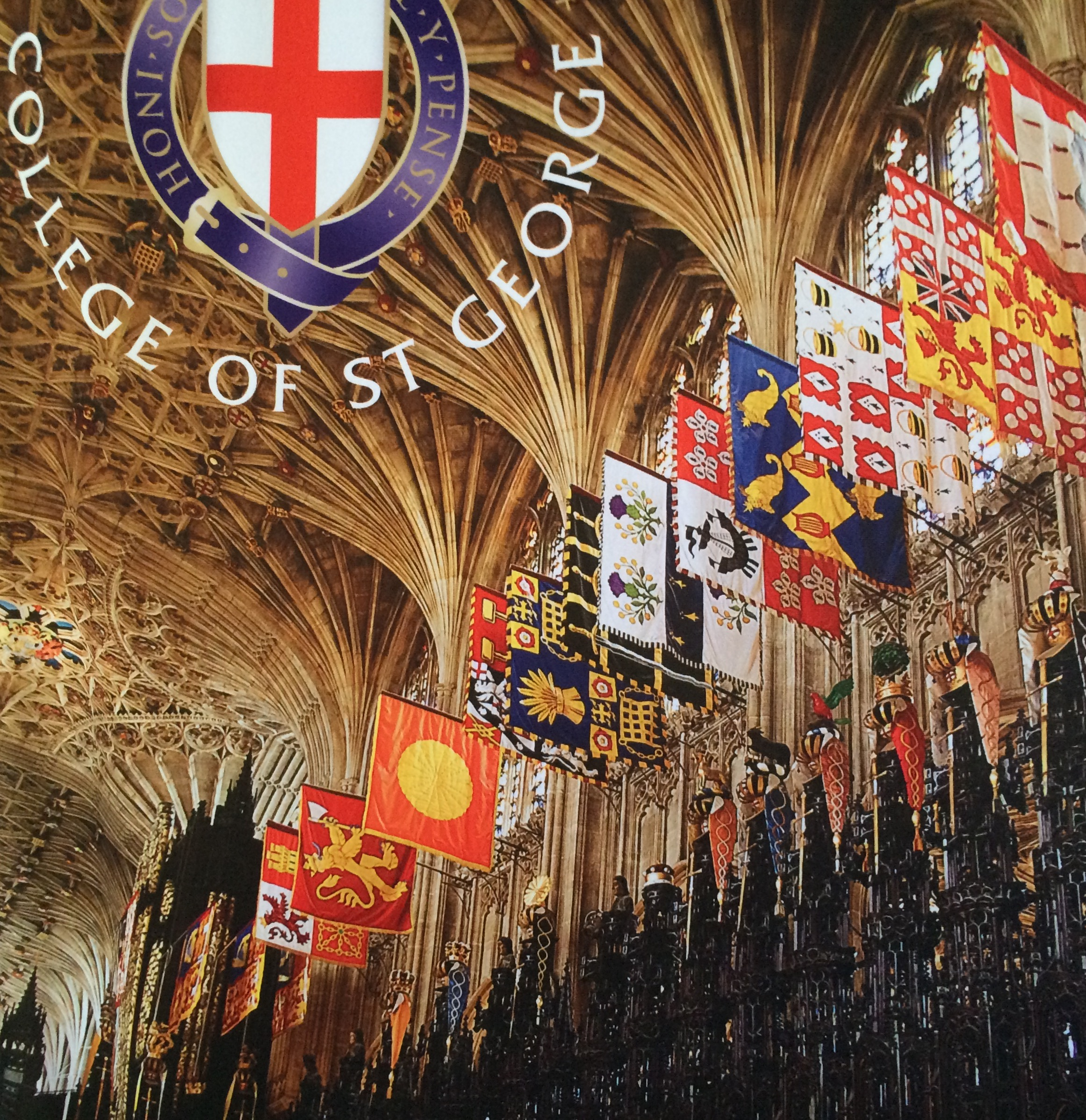 Georges Hall at Windsor Castle. We found plaques for 4 of the 5 Knights of the Garter. One is next to theEmperor Hirohito of Japan's flag