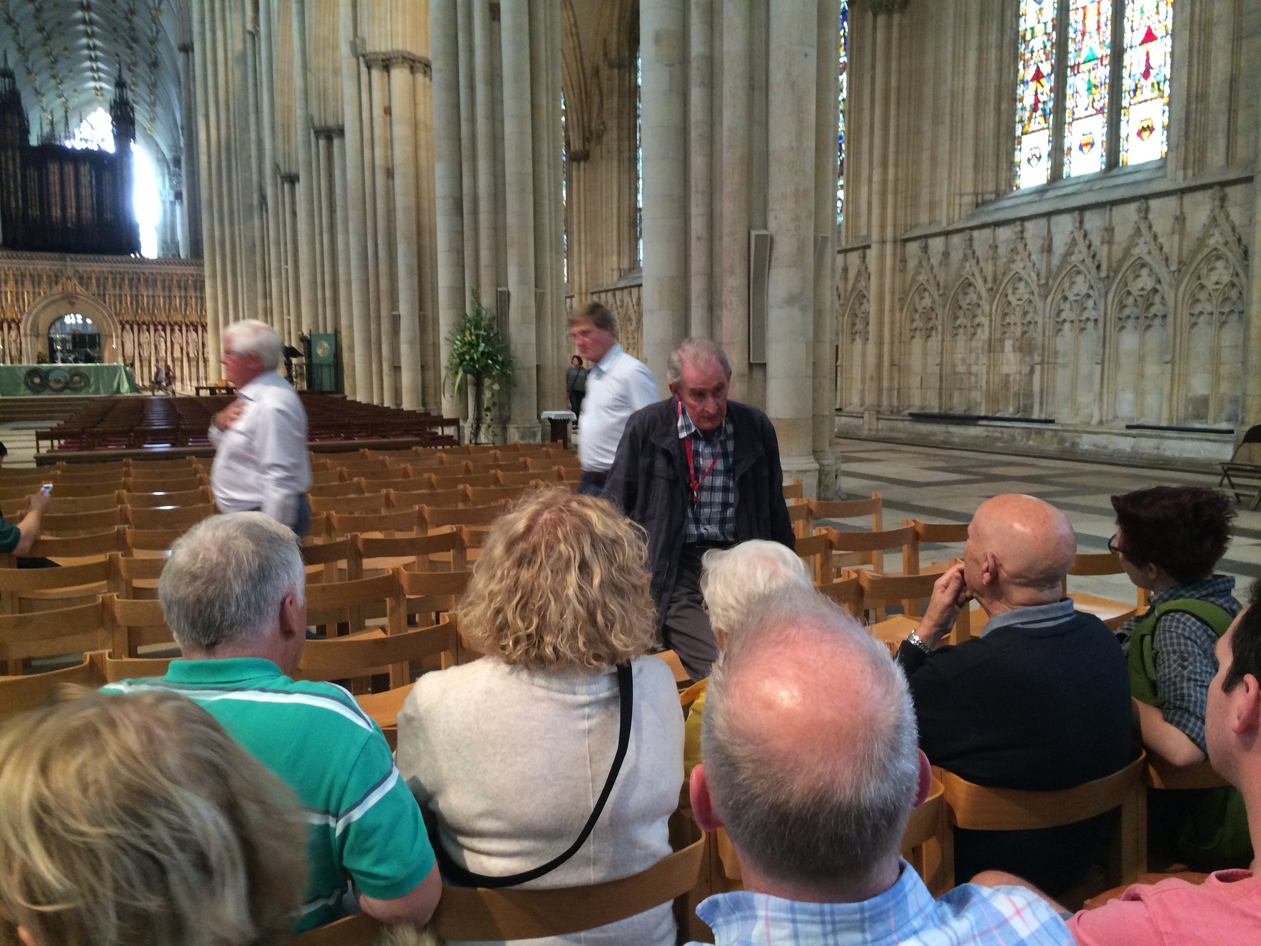 Yorkminister Cathedral- starting our guided tour of the church Archishop Scrope served up to 1405.
