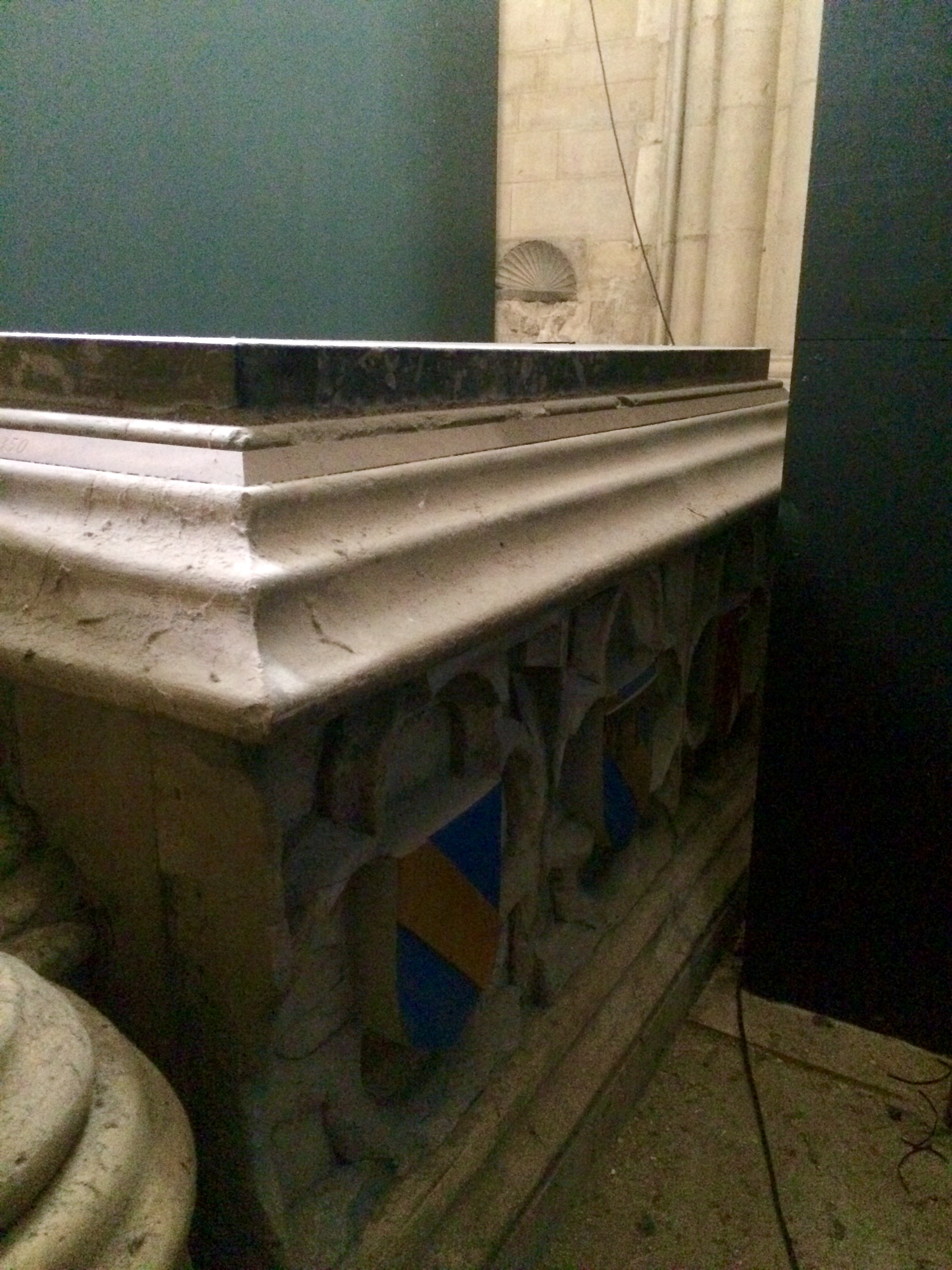 Scrope Coat of Arms are everywhere in Yorkminister. Archbishop Scrope's tomb became a shine after his beheading on the orders of Charles IV.
