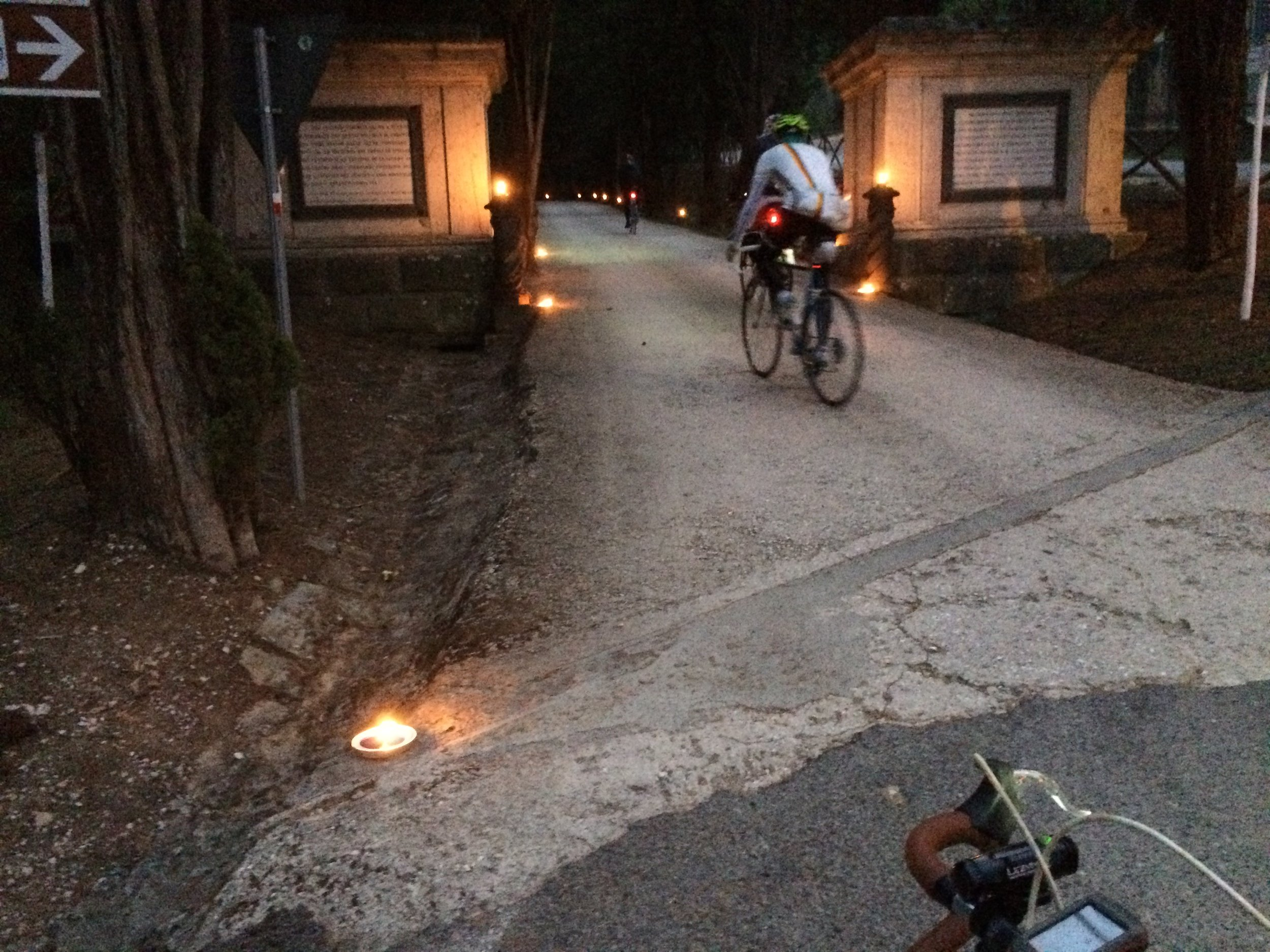 Oil lights lit the first gravel section at Castello di Brolio