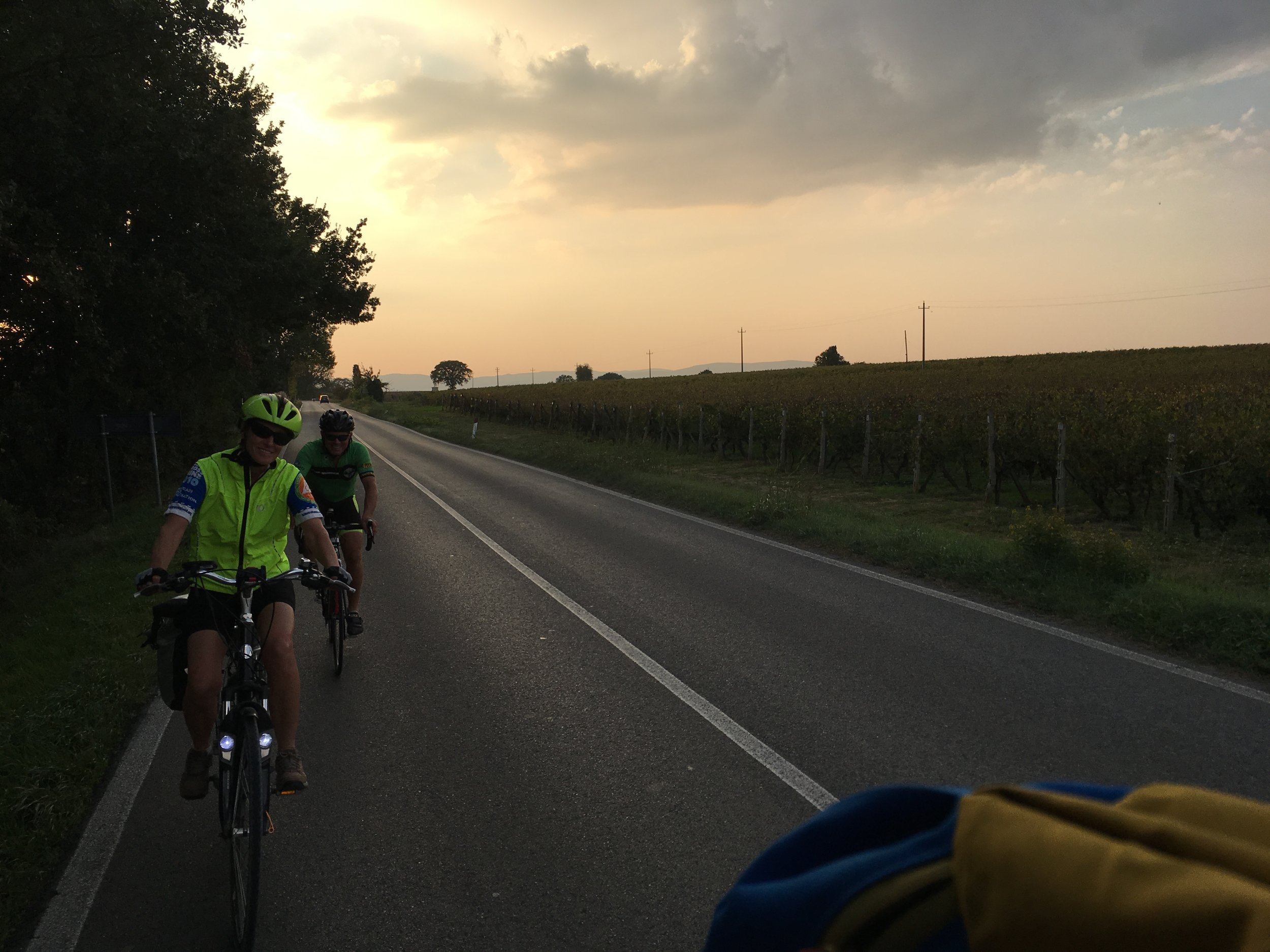 Becky and Charlie in the peloton