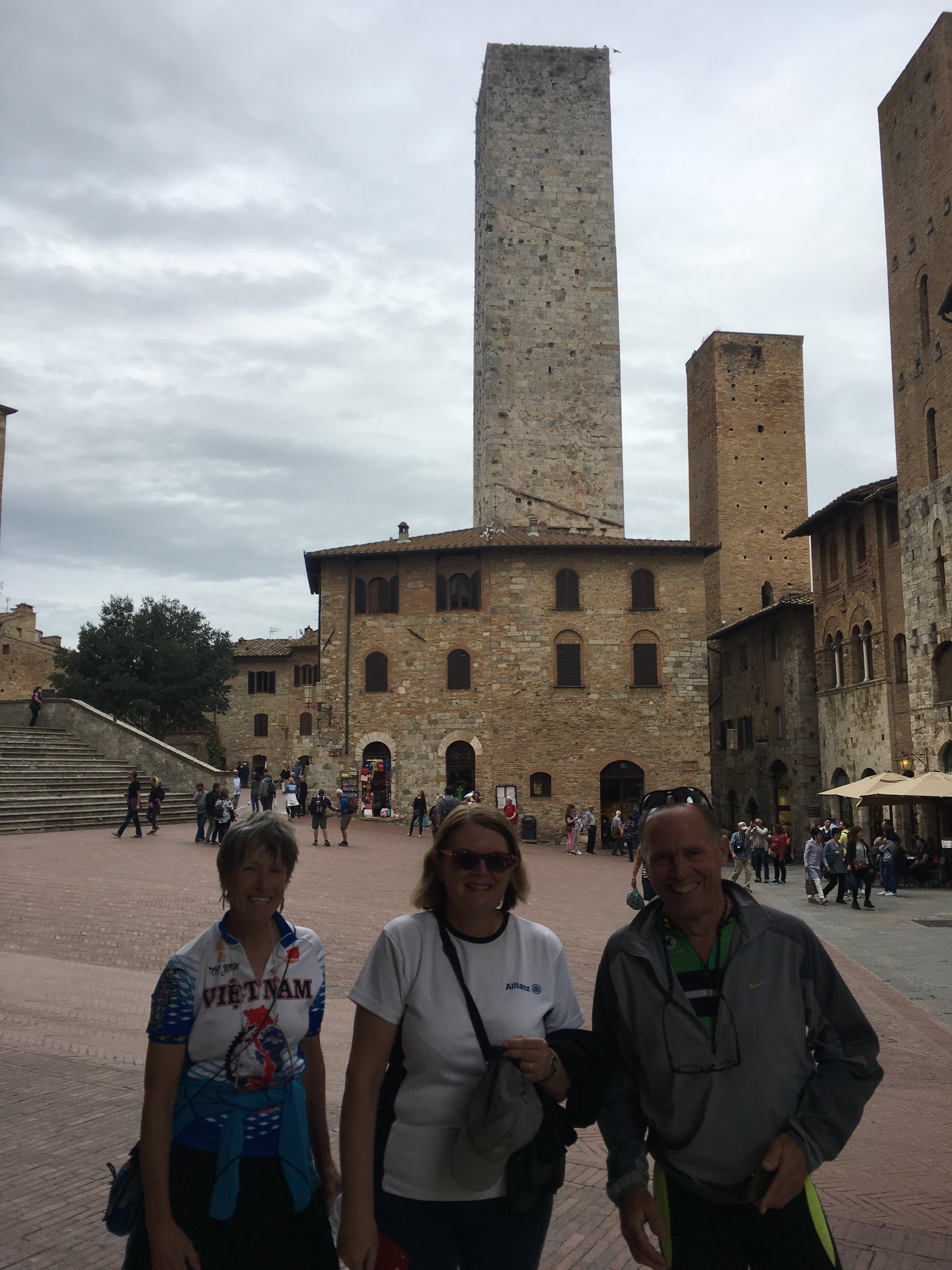 Becky, Karen and Charlie being tourists in San Gimignano