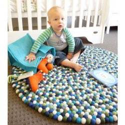 Felt ball rug, in many colour options from The Little Kidz Closet