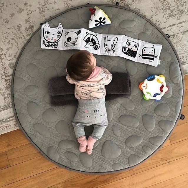The Lilypad Playmat has a PETE cushion between the outer surfaces making it not only a comfortable place for bubs to lay and play on but also gives it a bit of insulation on colder floors during winter.  And don't forget that $50 from the sale of these goes directly to the Van Wright Foundation.  Cute image by @regrinia