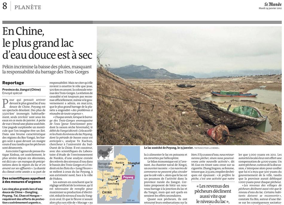 Poyang Lake for Le Monde