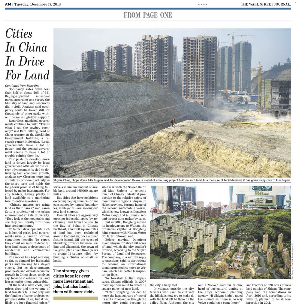 Wall Street Journal Press Clip | Cities in China in Drive for Land