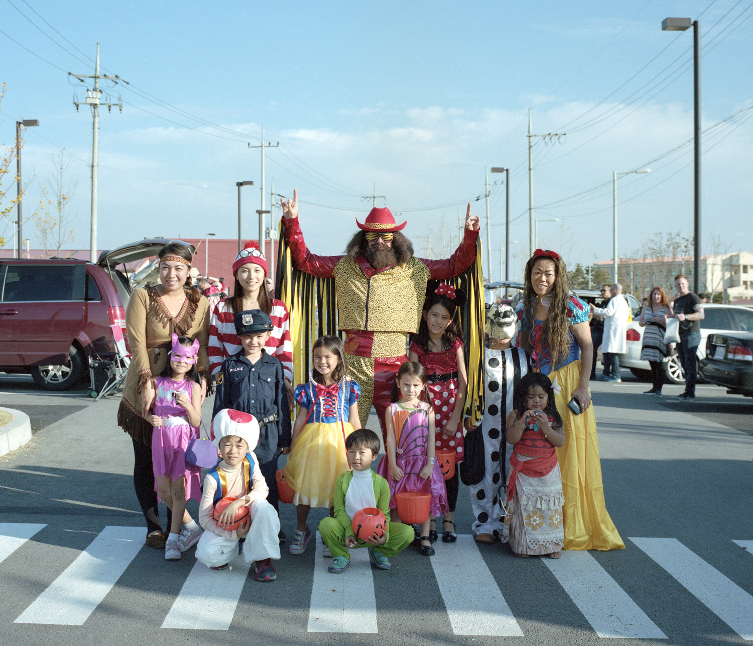 Officers and their children participating to some local activites during Halloween in the Camp Humphrey, biggest american military base in Asia.