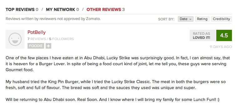 Potbelly Review on Zomato, Thank you!