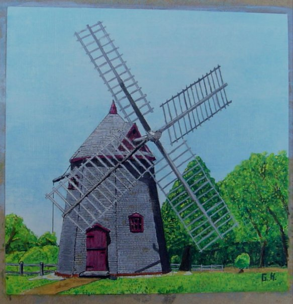 6x6 inch oil & arcival ink on canvas textured French paper.  The Windmill at Eastham on Cape Cod, MA.jpg