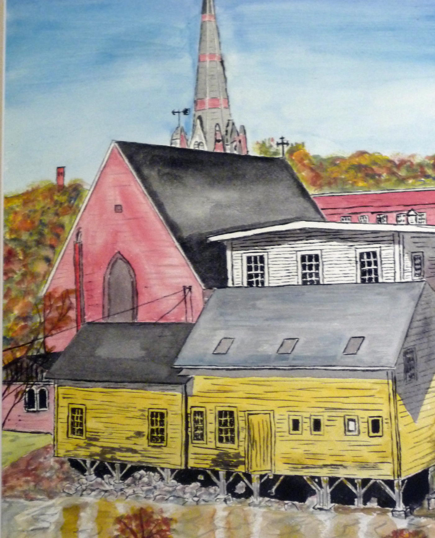 Back of Main St 11 X 14 inches Watercolor on 140 lb cold pressed paper.JPG