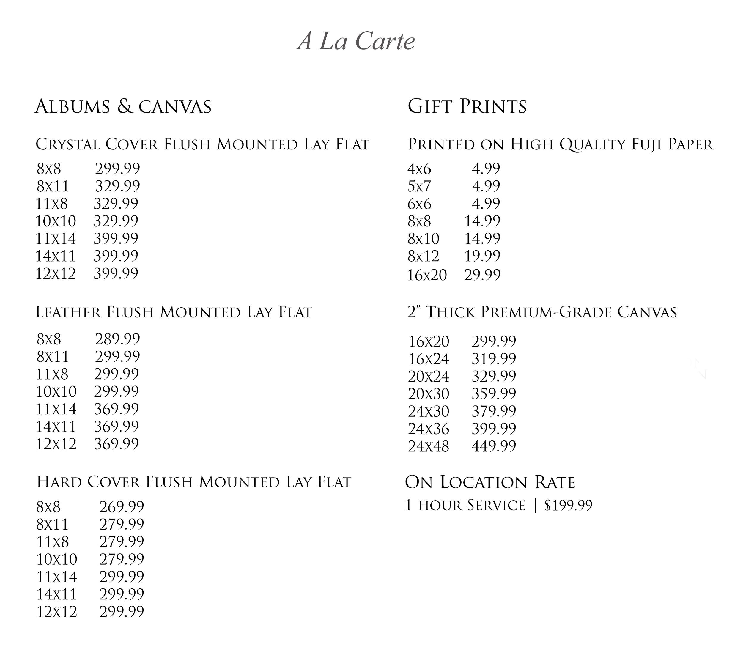 A La Carte Prices 2014.jpg