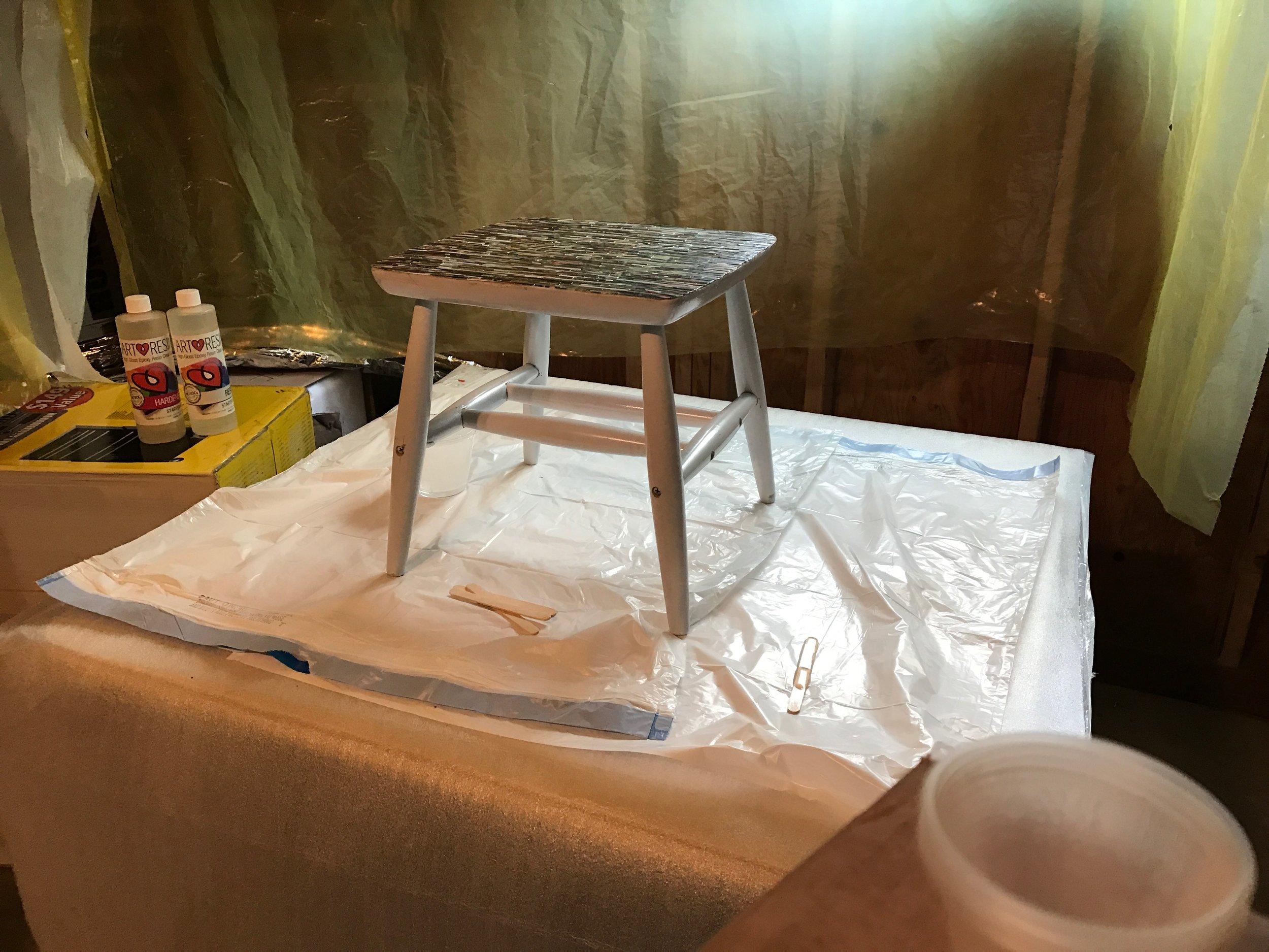 Garage prepared resin at hand, stir sticks!