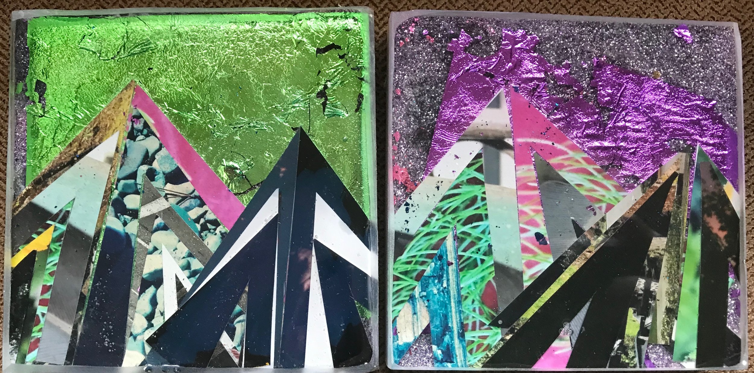 "Mini Mountain scapes (each one 4""x4"") 2019"