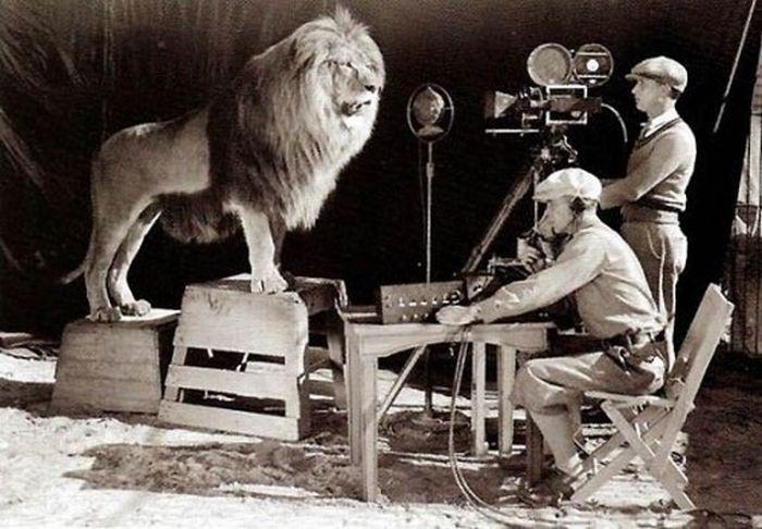 Original filming of the MGM logo
