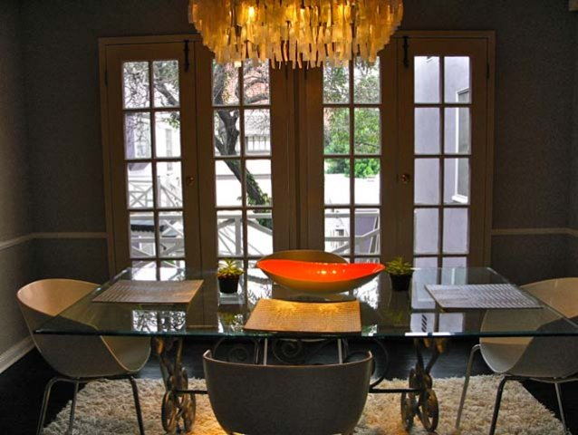 Formal Dining Room with French doors to balcony