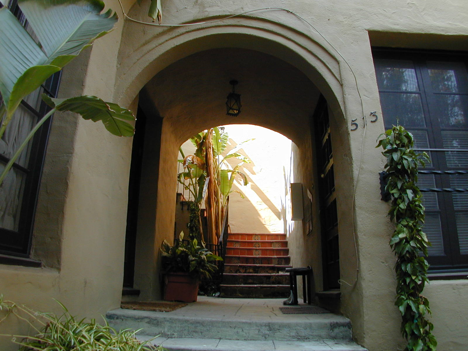 Arched courtyard entry