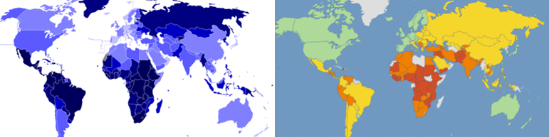 Left: List of countries by intentional homicide rate  Right:The  2013 Legatum Prosperity Index™