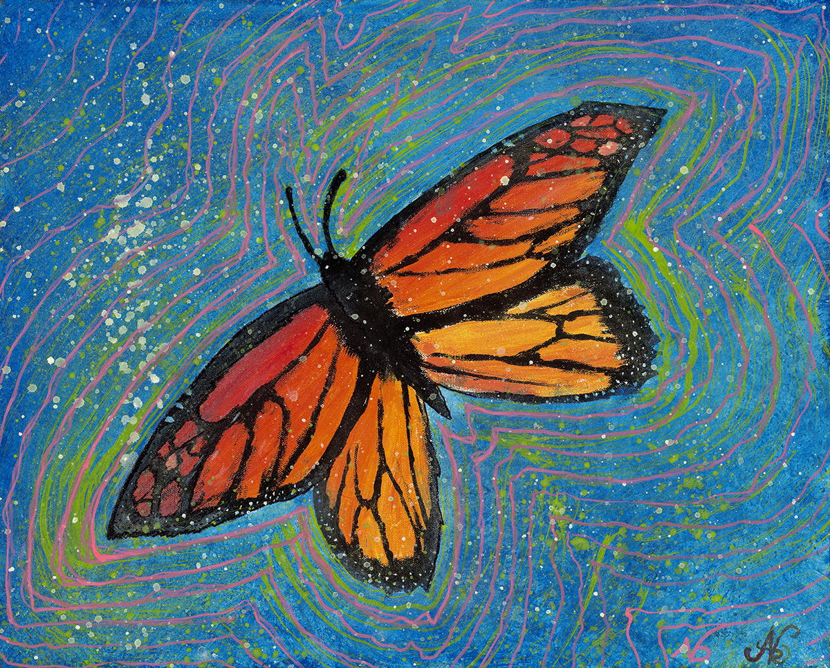 """The Butterfly Effect  b egan around age 14 in 2004 and left unfinished for ten years. Completed at age 24 in 2014, the Butterfly Effect is a collaboration across space and time.    Acrylic on Canvas16"""" x 20"""""""