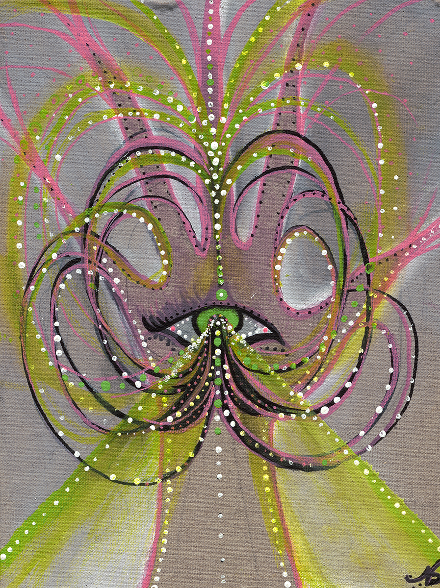 """Feedback Loop  explores the cyclic process of inspiration and creation    Acrylic marker on Canvas 9"""" x 12"""""""