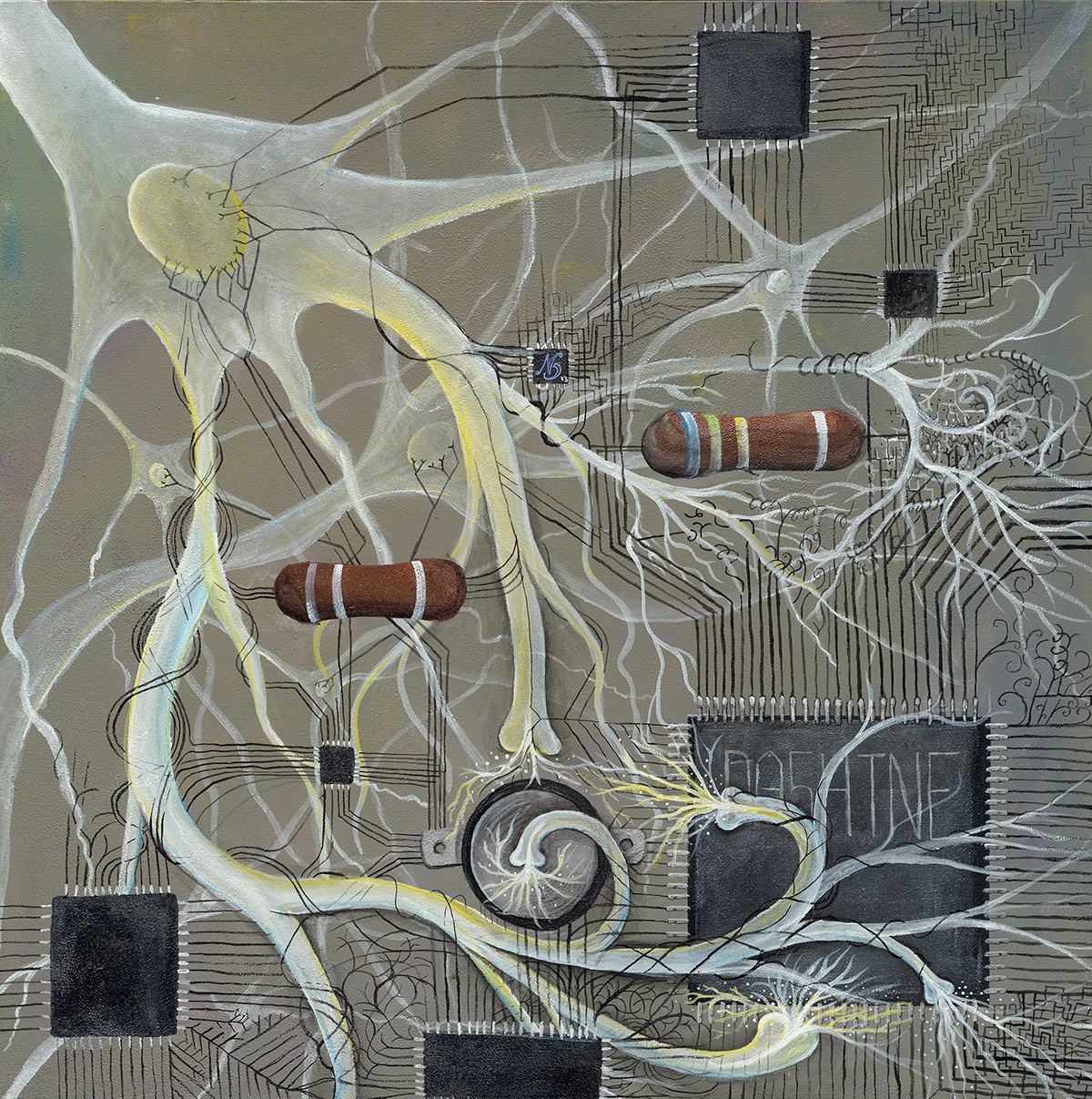 """The Singularity  is Synaptic Design's cornerstone art piece. The Singularity represents the interface between humans and technology.    Acrylic on Canvas.30"""" x 30"""""""