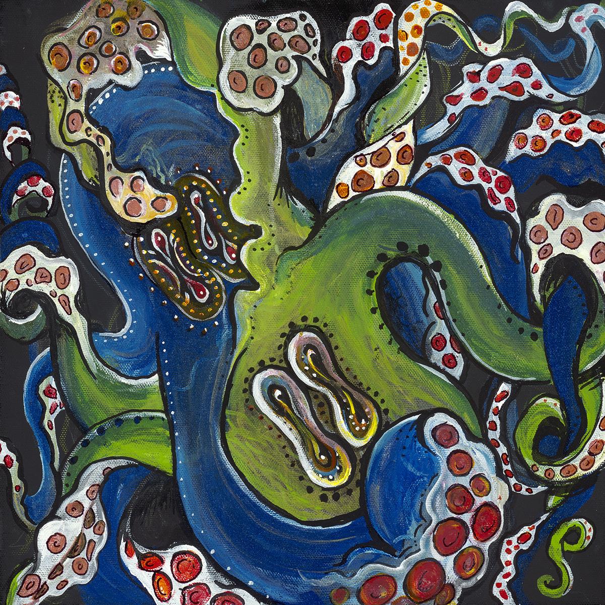 "Octopilovers   Acrylic on Canvas 12"" x 12"""