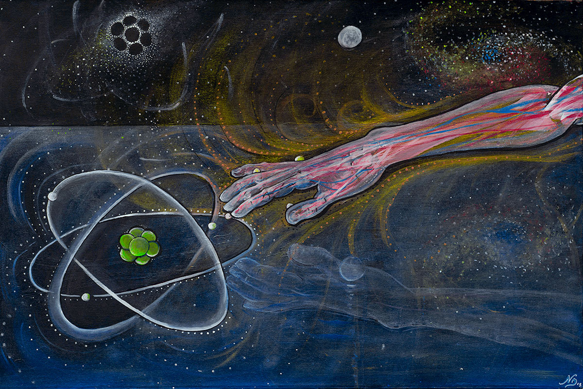 """The Creation of Atom  explores the idea of creation in a metaphysical collaboration of the right and left hemisphere.    Acrylic on Canvas,20""""x30"""""""