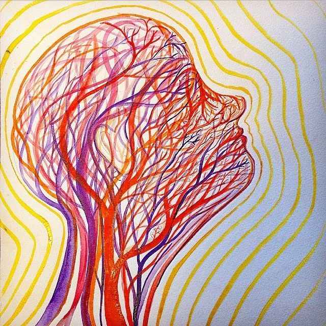"""BioRadiance  depicts the vasculature of the head and the radiant energy we produce  Ink on paper,12"""" x 12"""""""