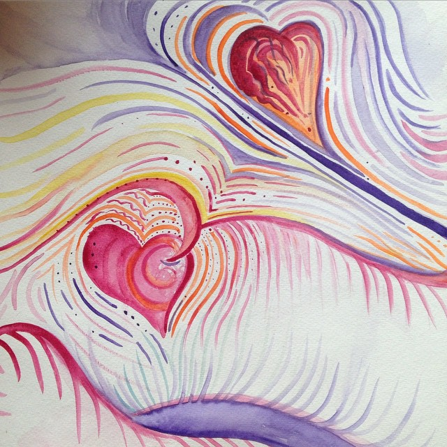 "Heartsync  is inspired by the phoenomenon that lovers heartbeats can sync up according to  recent research .   Watercolor on paper 12""x12"""
