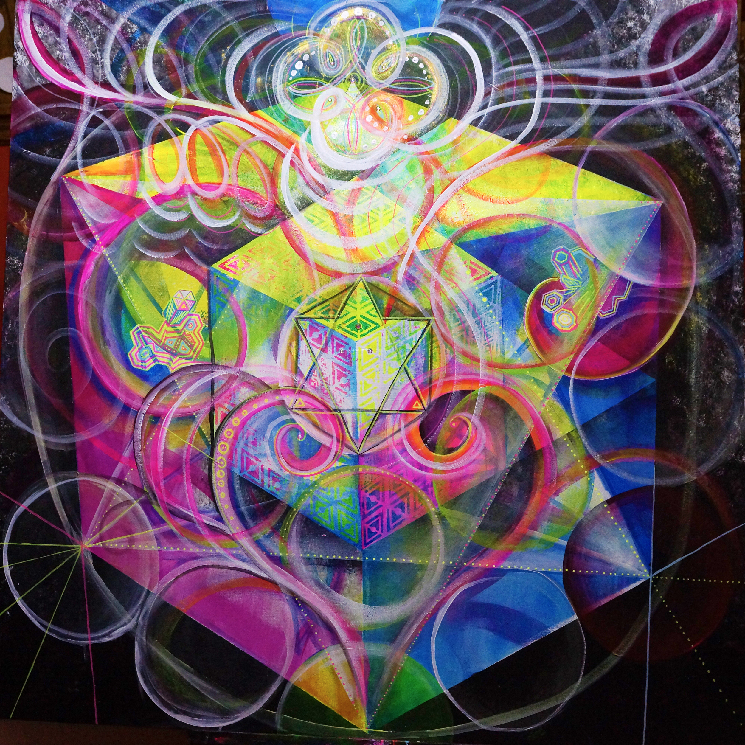 4ftx4ft, UV Reactive, glow in the dark, and dayglo paints on canvas. Sacred Geometry and emotion play together.