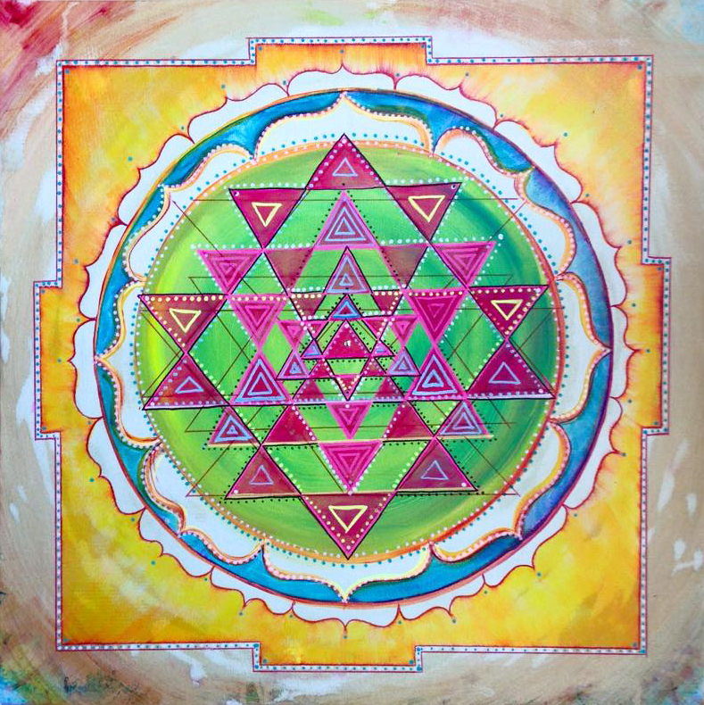 2ftx2ft, A Yantra is a sacred diagram used in Eastern mysticism to balance the mind or focus it on spiritual concepts. The act of wearing, depicting, enacting and/or concentrating on a yantra is held to have spiritual or astrological or magical benefits in the Tantric traditions of the Indian religions.