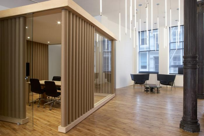 The conference room of this SoHo office is made of paper tubes. Design by Magdalena Keck Interior Design, Bostudio Architecture acted as Architect of Record.  Photo by Jeff Cate.