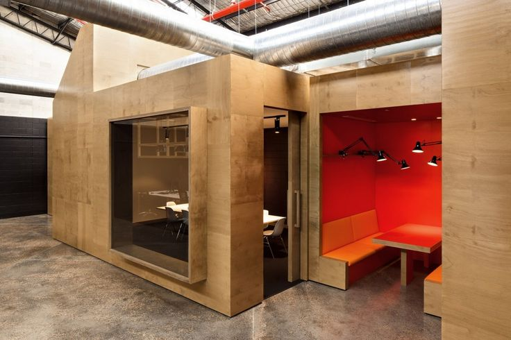 An elaborate structure by Make Creative in Unit B4, a satellite office for the Australian property Group Goodman.