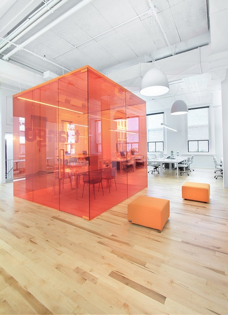 Anne Sophie Goneau Design is not afraid to use a splash of color. A simple pink cube at the Tuango Tuango offices in Montreal, Canada.