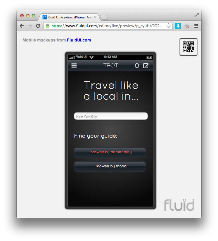 """First screen of prototype. Note, on a phone you need to click the link that says """"try this mockup in the browser""""."""