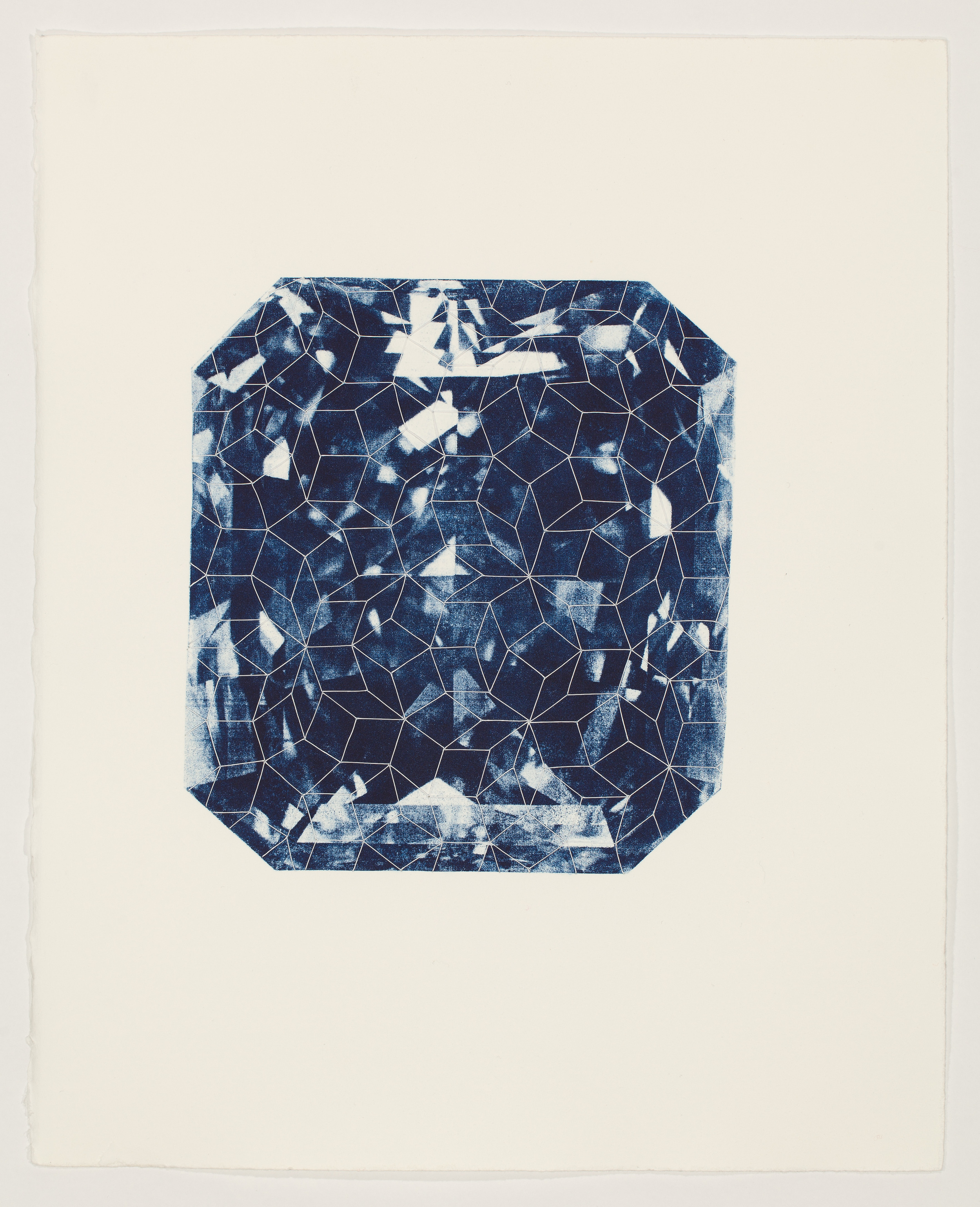 Untitled (emerald cut) , 2011  xerox-lithograph and thread on paper