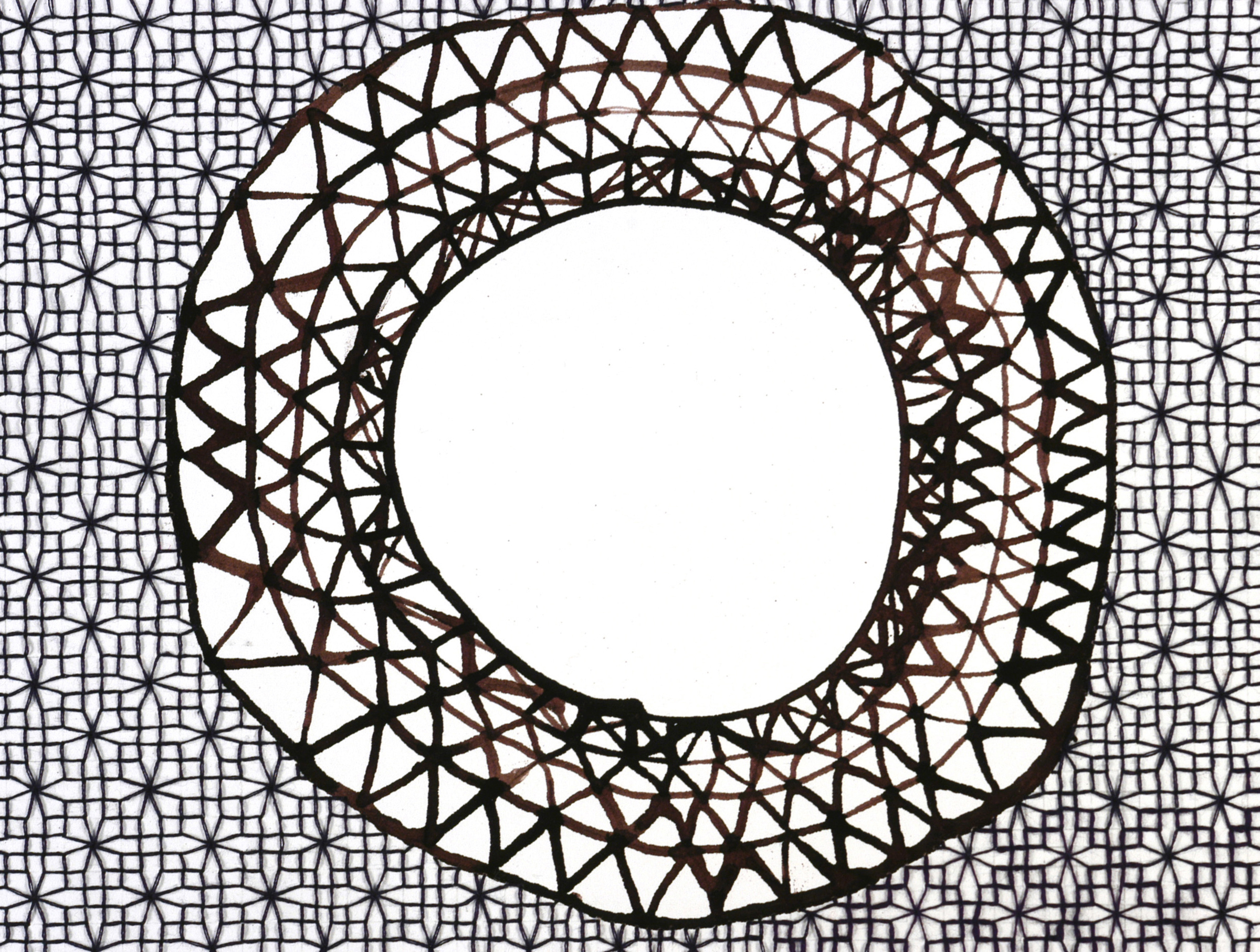Ink and Blackwork Doily , 2006  ink and thread on paper, 6 x 8 inches