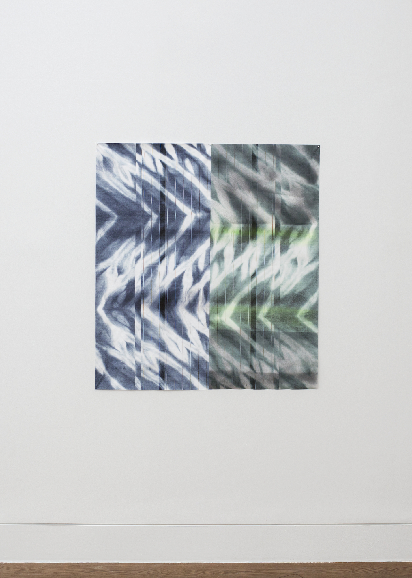 Wave Forms (blue and green) , 2015  inkjet print on fabric and acrylic spray, 2 fabric panels  49 ¾  x 23 ¼, 126 x 59 cm and 49 ¾  x 22 inches, 126 x 59 cm