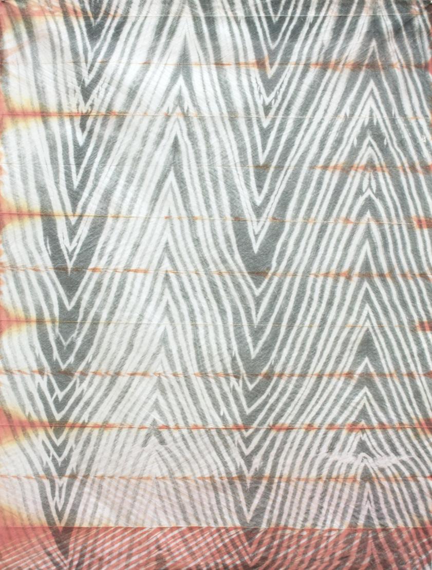 Heat Wave,  2015  shibori dye (orange) on inkjet printed fabric,  48 ½ x 36 inches, 123 x 91 cm