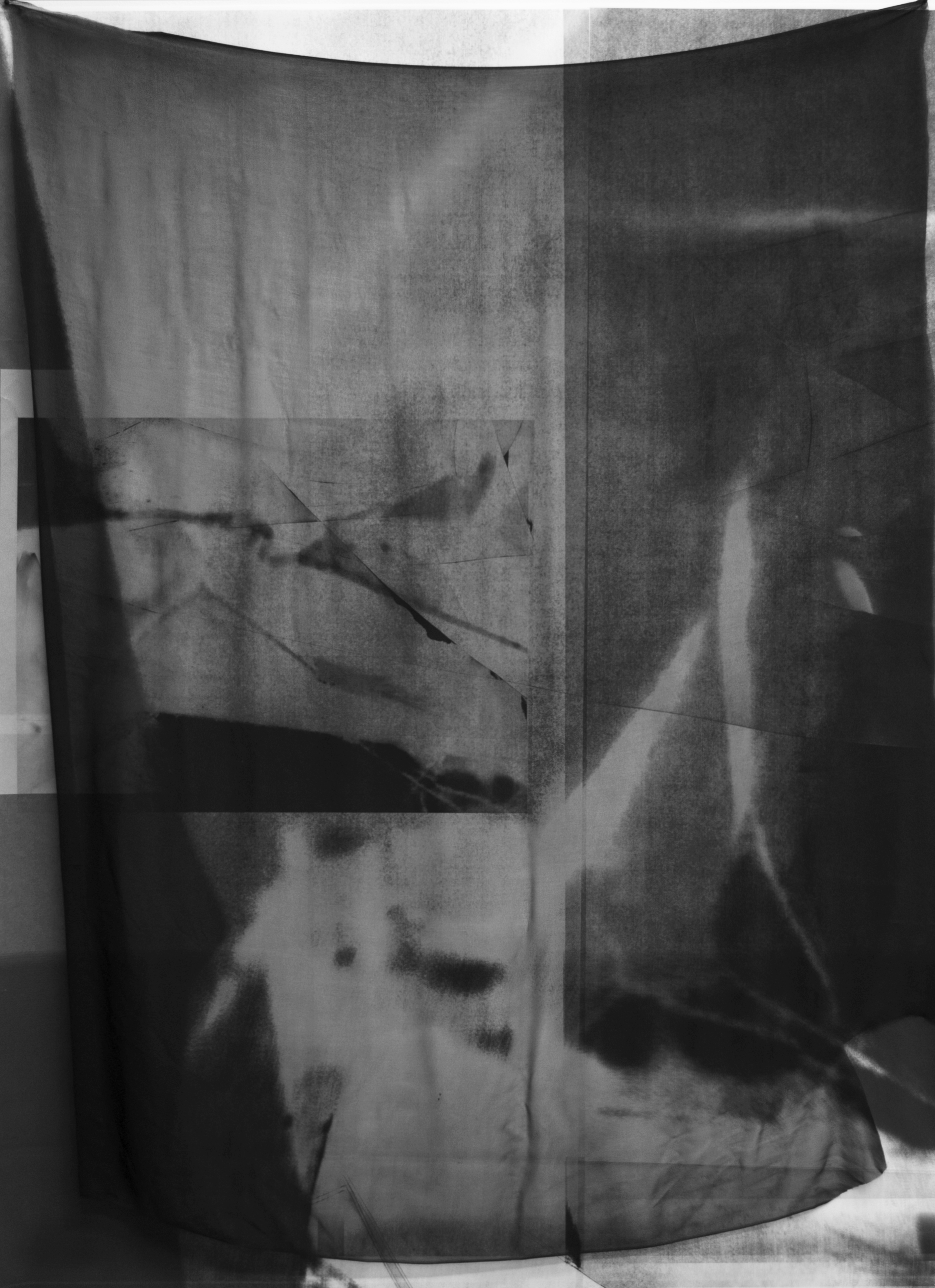 Curtain , 2014  inkjet print on matte paper (unique) with silk overlay, 55 x 44 inches