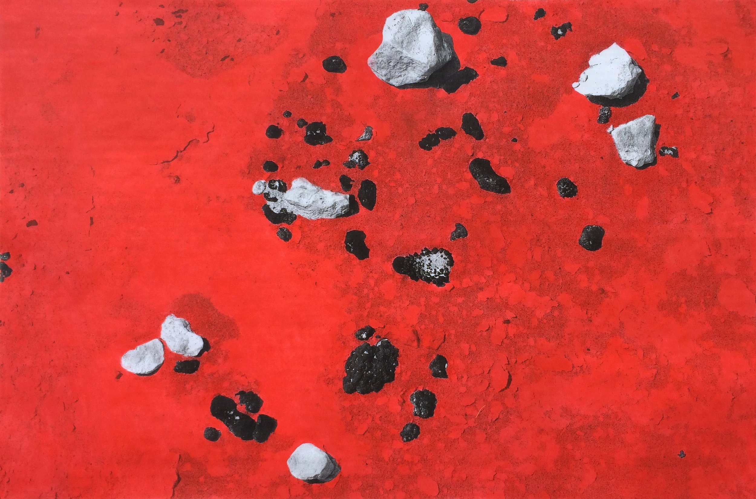 Red Desert, 2016  pastel on laser toner print mounted on aluminum dibond, 34 x 51 inches