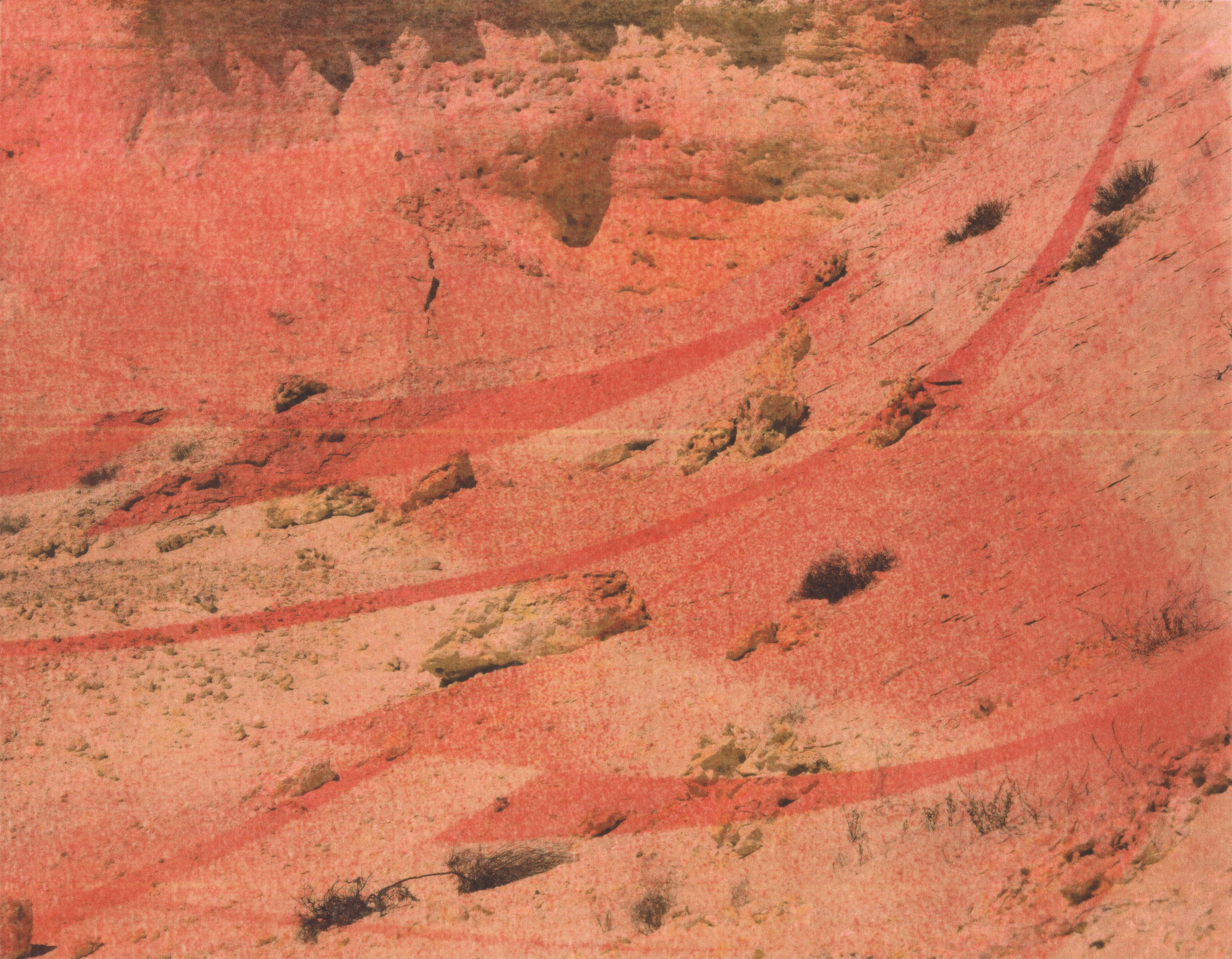 Red Desert (Slope) No. 1,  2016  color laser print on hot press watercolor paper, unique print, three layers, 11 x 14 inches
