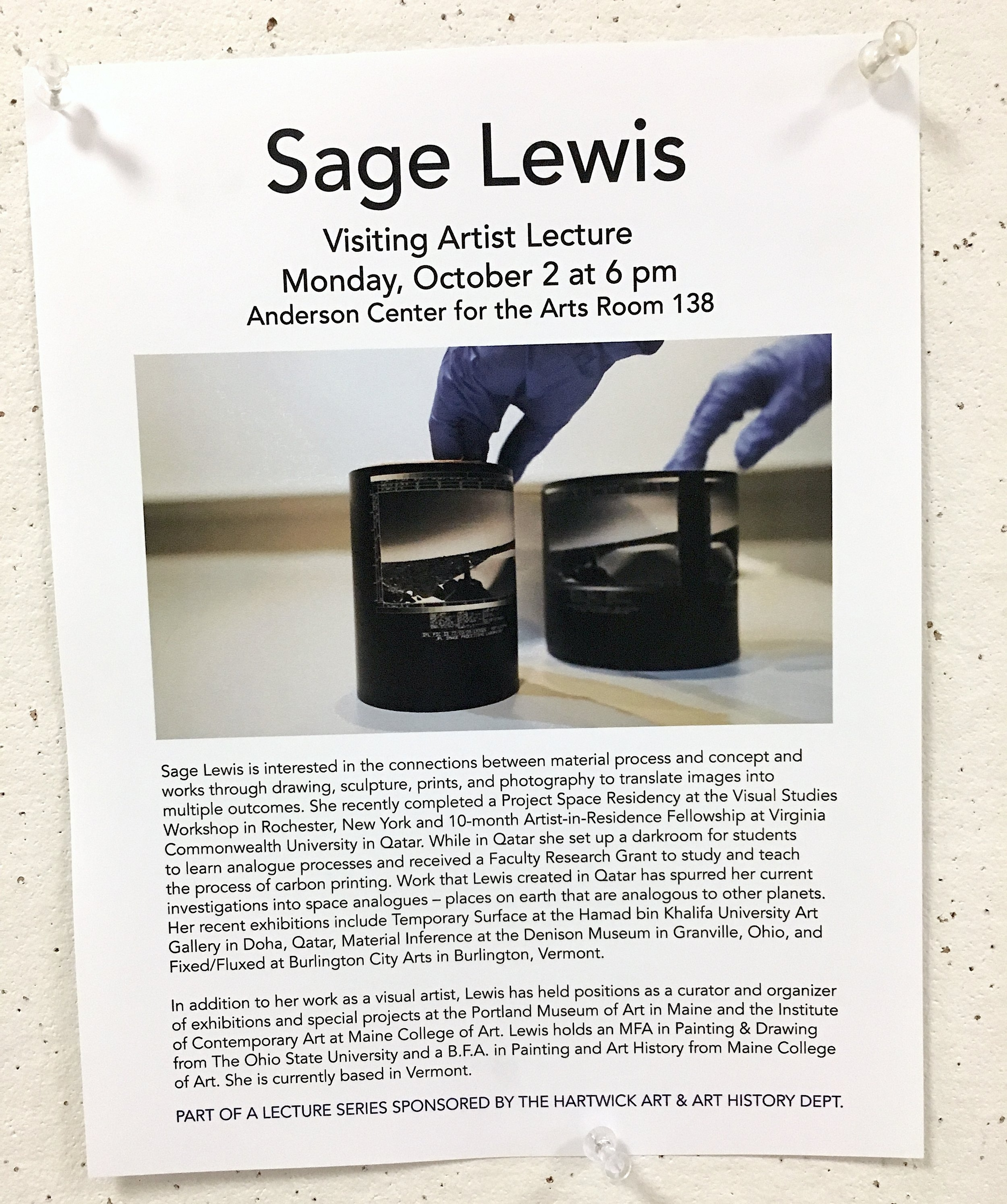 Visiting Artist - On October 2nd I'll be giving a talk about my work at Hartwick College in Oneonta, NY. Many thanks to the Hartwick Art & Art History Department for sponsoring my lecture. If you're in the area, please come!