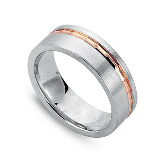 Two-tone White & Rose Gold Wedding Band