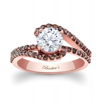 Rose Gold Engagement Ring With Champagne Diamonds - 7848LPCW