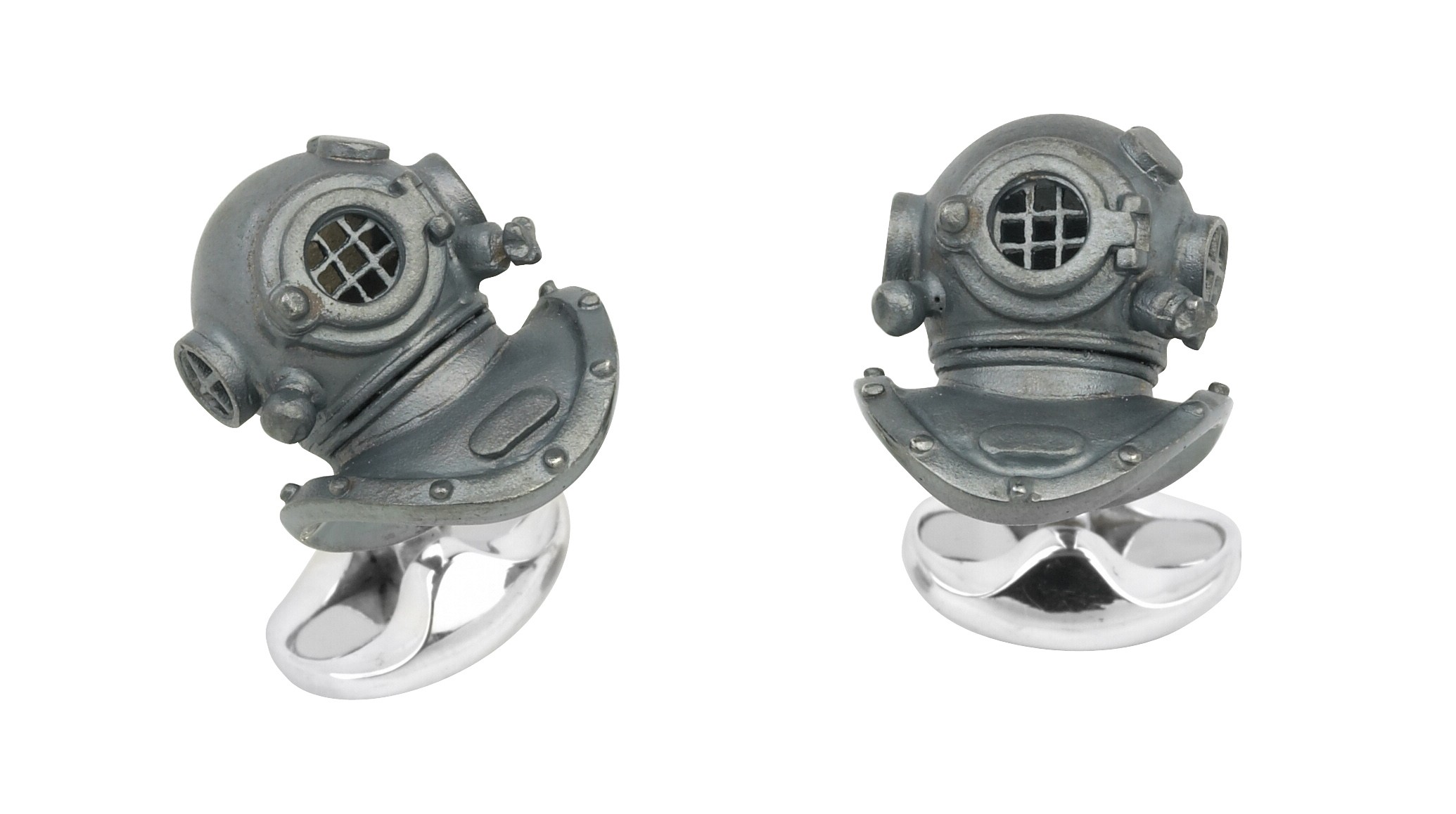 Oxidised Diving Helmet Cufflinks