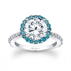 Blue Diamond Halo Engagement Ring - 7839LBLW