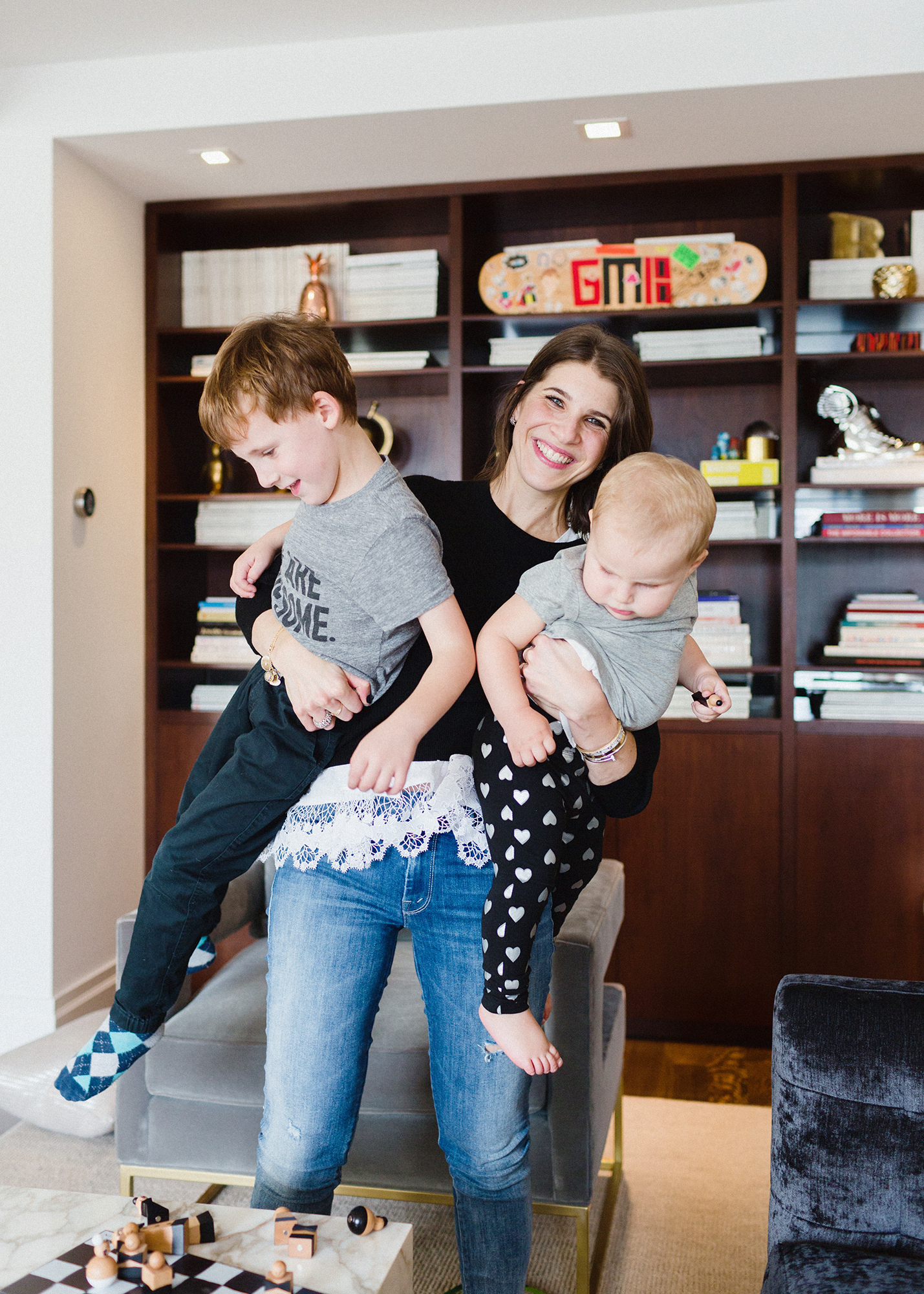 Rachel Blumenthal with Kids, Griffin and Gemma